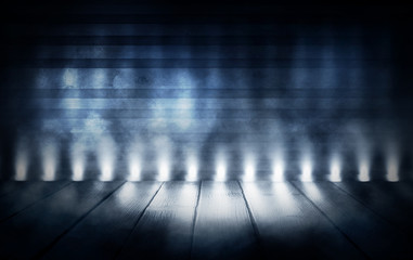 Background of an empty room with spotlights and lights, abstract background with neon glow