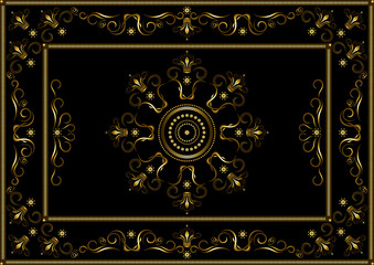 Gold frames from dotted stripes, with pattern on border of gold twisted stripes and crowns on black background