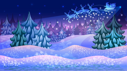 A Christmas card where Santa rushes to the children through the night sky in a magical forest on reindeer amidst snowdrifts.