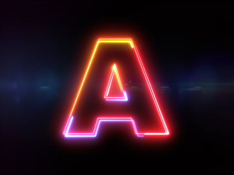 Letter A - colorful glowing outline alphabet symbol on blue lens flare dark background