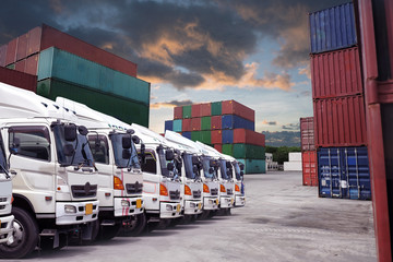 Truck fleet in the container depot.