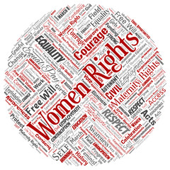 Vector conceptual women rights, equality, free-will round circle red word cloud isolated background. Collage of feminism, empowerment, opportunities, awareness, courage, education, respect concept