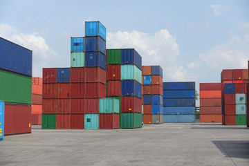 The atmosphere of shipping industry container depot.