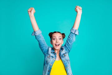 Portrait of nice crazy positive childish foolish cheerful girl w