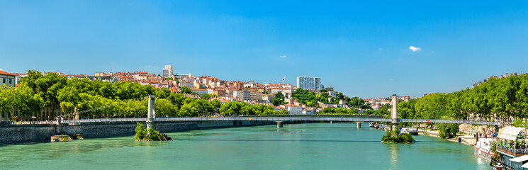 Panorama of Lyon above the Rhone River in France