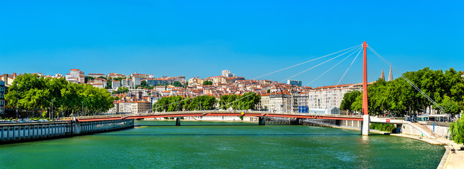 Panorama of Lyon above the Saone River in France