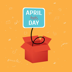 Vector April Fool's Day funny box with label on bright orange background with doodles
