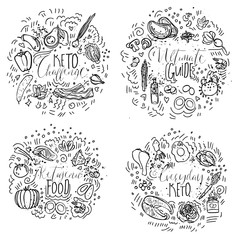 Keto Challenge, Ultimate Guide, Ketogenic Food, Everyday Keto - black and white vector sketch illustration concept. Healthy keto food with texture and decorative elements in four circles - all