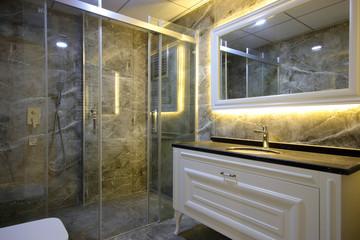 Modern Bathroom Interior and Shower Cabin