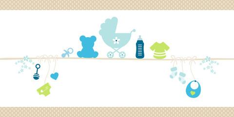 Small Card Baby Symbols Boy Dots Border