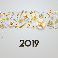 Creative background, Christmas Decorative Border made of Festive Elements on a light background. Happy New Year 2019, copy space. Colorful design.