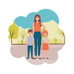 mom with children in landscape avatar character