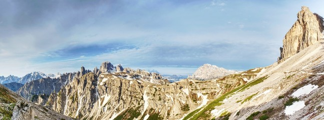 Panorama view of Dolomites Alpine peaks.  South Tyrol