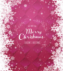 Christmas pink vector background illustration with snowflakes and white Merry Christmas text