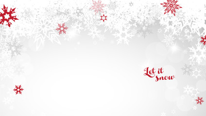 Christmas light vector background illustration with snowflakes and red Let it snow text