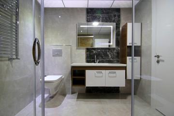 Modern Bathroom Interior from Shower Cabin