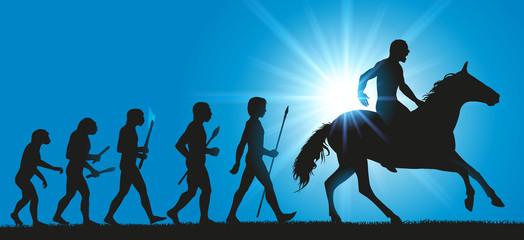 La théorie de l'évolution de l'humanité de Darwin, prolongée par le cheval dompté par l'homme
