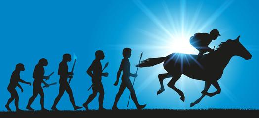 La théorie de l'évolution de l'humanité de Darwin, prolongée par un cheval monté par un jockey