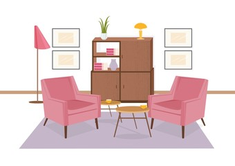 Interior of lounge area furnished in retro 80-s style. Old fashioned furniture and home decorations - armchairs, carpet, coffee table, sideboard. Colorful vector illustration in flat cartoon style.