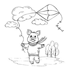 Doodle piggy playing with a kite on the street