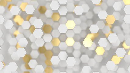 Abstract lux background with white and gold 3d hexagons