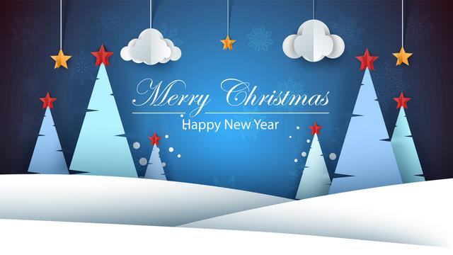 Cartoon paper happy new year. Merry christmas. Vector eps 10
