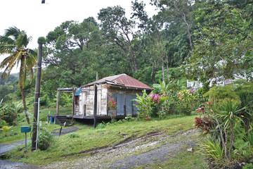 Guadeloupe, habitation isolée sur la route du sanctuaire de notre dame des larmes