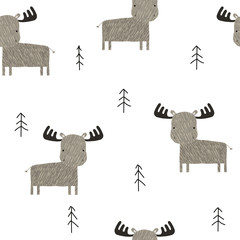 Funny elk in the forest seamless pattern. Cute childish print in Scandinavian style. Vector hand drawn illustration.