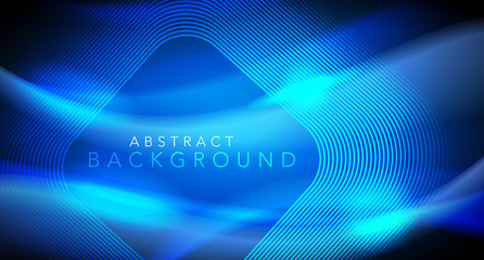 Vector Blue Neon Future Glowing Techno Lines, Hi-Tech Futuristic Abstract Background Template