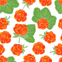 Cloudberry. Berries, leaves. On a white background. Seamless, wallpaper.