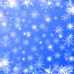 New Year Christmas. Blue background with snowflakes. Texture. Can be used on postcard. Template.