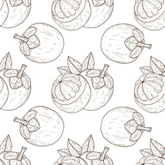 Mangosteen. Tropical Fruit. Background, wallpaper, seamless. Texture. Sketch. Monochrome.