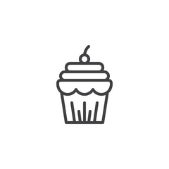Cupcake with berry outline icon. linear style sign for mobile concept and web design. Thanksgiving cake simple line vector icon. Symbol, logo illustration. Pixel perfect vector graphics