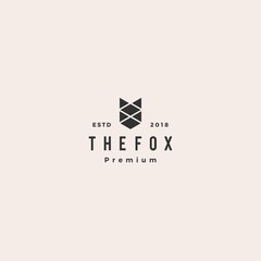 fox logo hipster vintage retro vector icon illustration