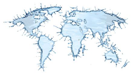 Clean Water Splash in Shape of World Map