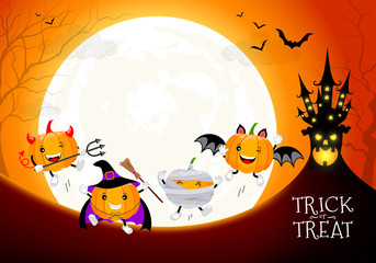 Funny cute cartoon pumpkin character. Witch, mummy, bat and devil in moon night background.  Trick or treat, happy Halloween concept. Design for banner, poster, greeting card. Illustration.