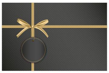 Gutschein zum Black Friday Sale in Form eines Geschenkes mit goldener Schleife