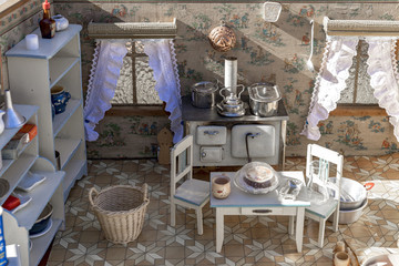 Doll's house with nostalgic antique inventory