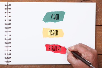 Vision, Mission and Strategy words on ripped paper pieces