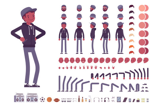 Young black man character creation set