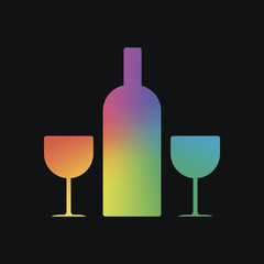 glasses and bottle. Rainbow color and dark background