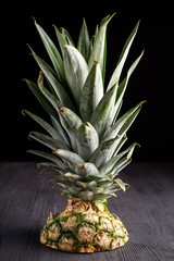 Cut Top of Fresh ripe pineapple on dark background, vertical composition