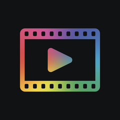 video icon. Rainbow color and dark background
