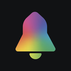 black bell icon. Rainbow color and dark background