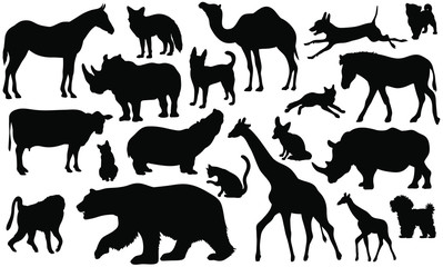 Set of 20 animals silhouettes on white background. Animals vector illustrations.