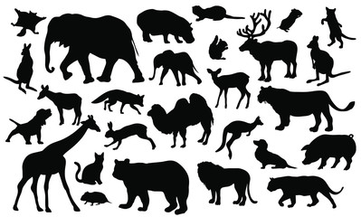 Set of 27 animals silhouettes on white background. Animals vector illustrations.
