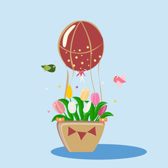 balloon with a basket in a blue sky, vector illustration