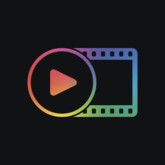 movie strip with play symbol in circle. simple silhouette. Rainb