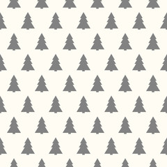 Wallpaper with hand Christmas trees. Vector.
