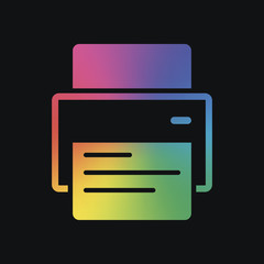 printer and paper. Rainbow color and dark background